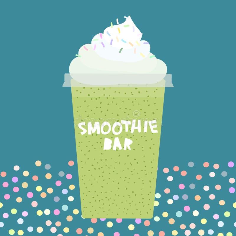 Tasse en plastique transparente de smoothie de kiwi de barre de smoothie de design de carte avec la crème fouettée sur cyan foncé illustration de vecteur