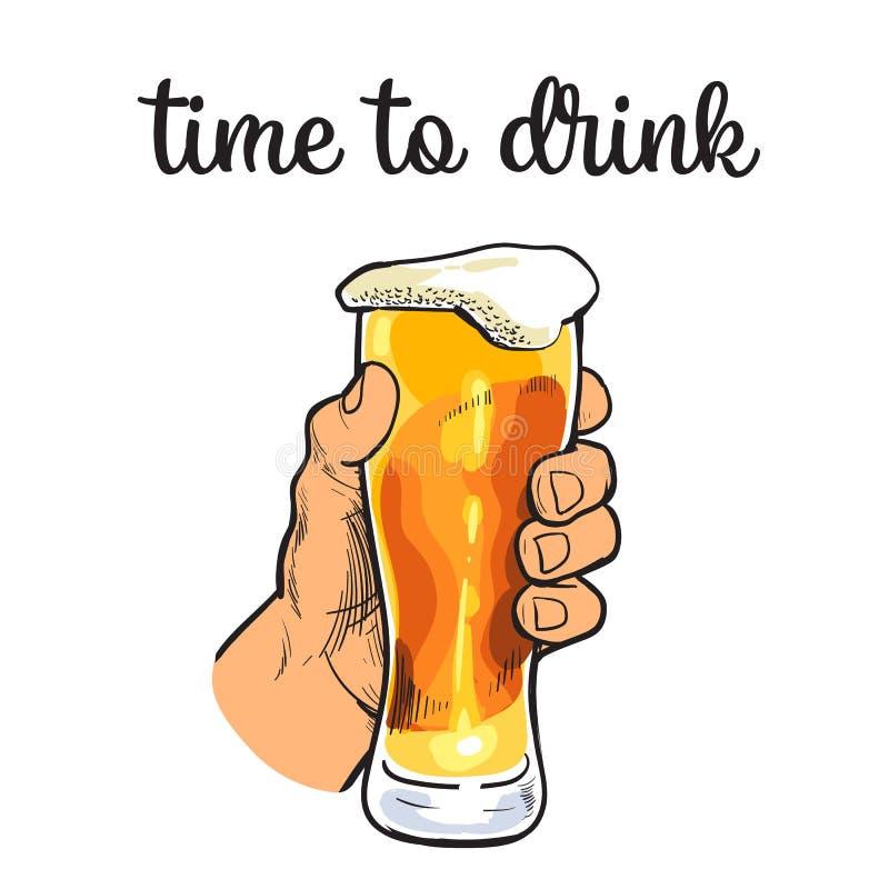 Tasse en verre de bière avec la mousse illustration stock