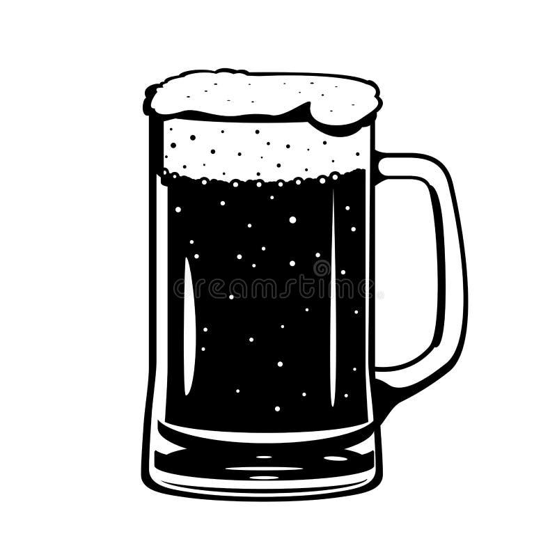 Tasse en verre de bière noire et blanche illustration libre de droits