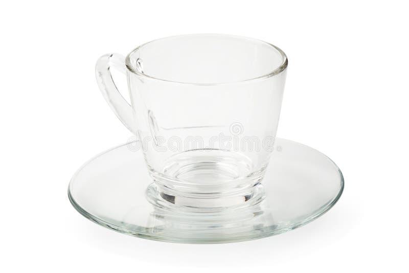 Tasse en verre vide de th? ou de caf? avec la poign?e d'isolement sur le fond blanc photos stock
