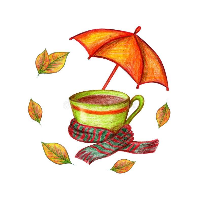 Tasse et parapluie illustration stock