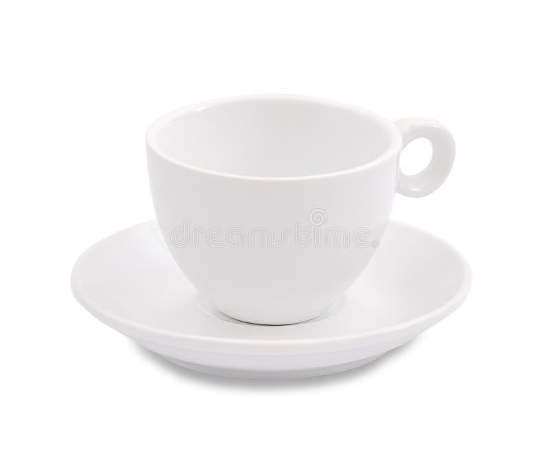Tasse et soucoupe de café blanc sur le fond blanc photos libres de droits