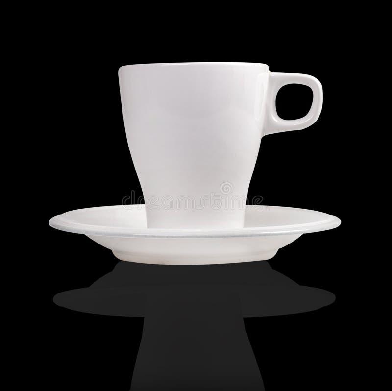 Tasse et soucoupe de café blanches de porcelaine images libres de droits