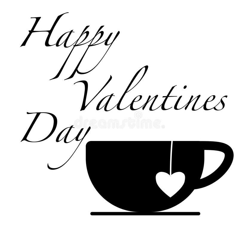 Tasse heureuse de noir de jour de valentines avec le thé d'amour dedans illustration de vecteur
