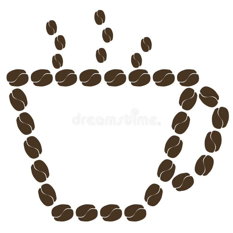 Tasse Kaffee hergestellt von den Kaffeebohnen stock abbildung