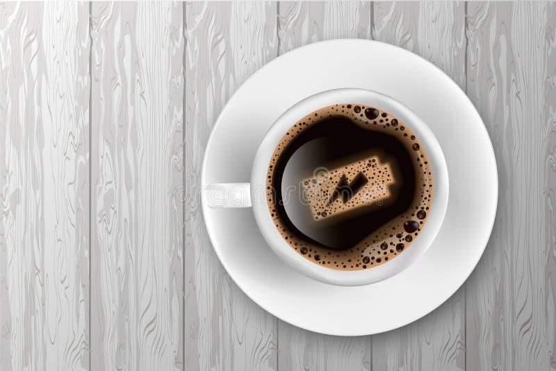 Tasse Kaffee mit Batterieenergie auf Schaum auf hölzernem Hintergrund vektor abbildung