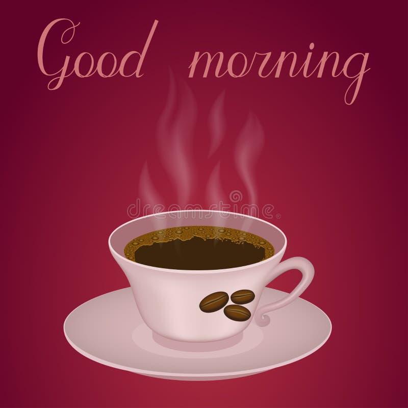 Tasse Kaffee mit gutem Morgen des Textes stockfotos