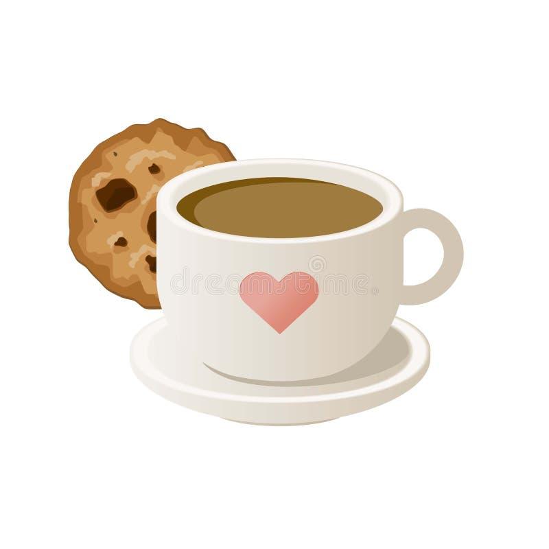 Tasse Kaffee mit Plätzchen Auch im corel abgehobenen Betrag stock abbildung