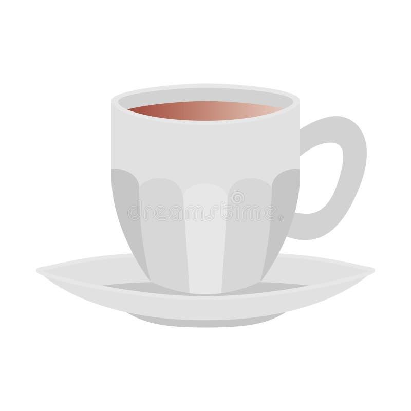 Tasse Kaffee mit Platte lokalisierter Ikone lizenzfreie abbildung