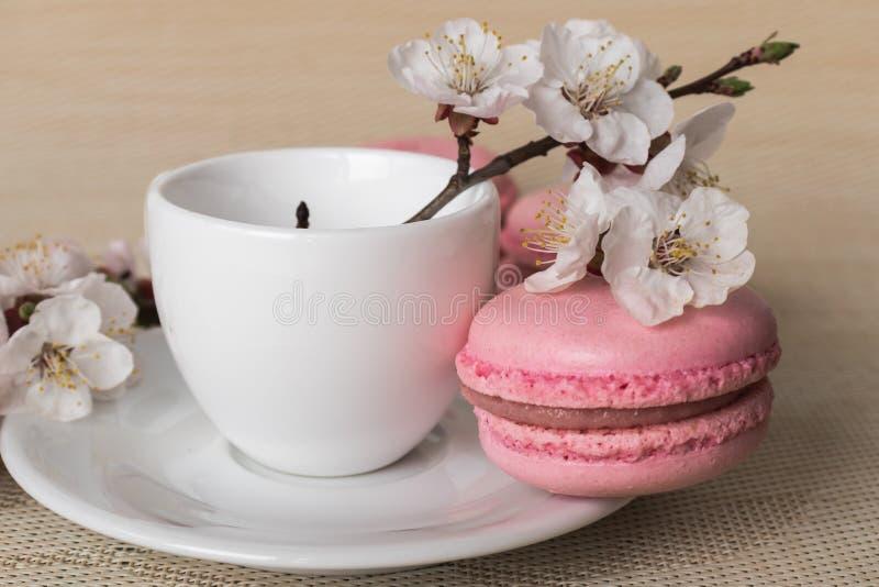 Tasse Kaffee mit rosa Makronen und weißen Blumen lizenzfreie stockfotos