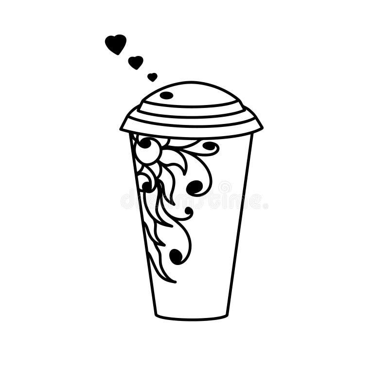 Tasse Kaffee mit schwarzem Herzen, Blumenblumengrenze Vektorpapiertasse tee Hei?es Getr?nkplastikglas Behältersaft zum Mitnehmen vektor abbildung