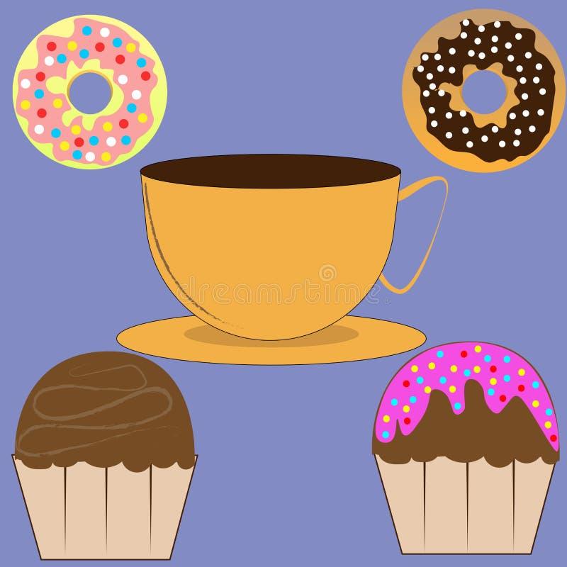 Tasse Kaffee, Muffins und Schaumgummiringe lizenzfreie abbildung