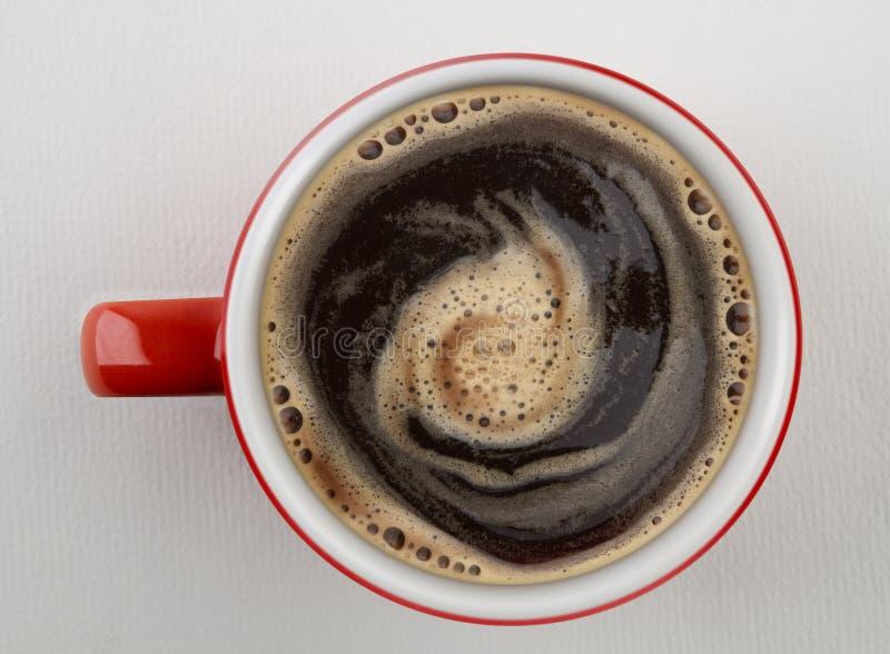 Tasse Kaffee schoss von oben stockfotos