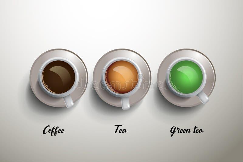 Tasse Kaffee, Tee und grüner Tee passender Gebrauch für Menü stock abbildung