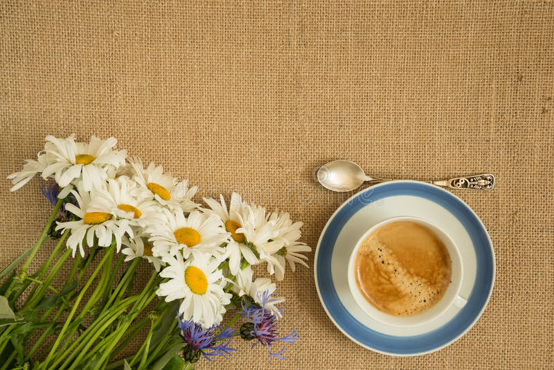 Tasse Kaffee und Blumenstrauß der Kamille lizenzfreies stockbild
