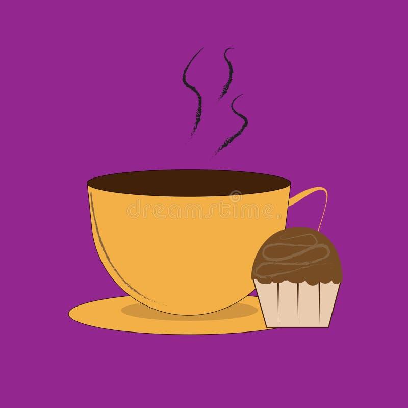 Tasse Kaffee und Muffins lizenzfreie abbildung