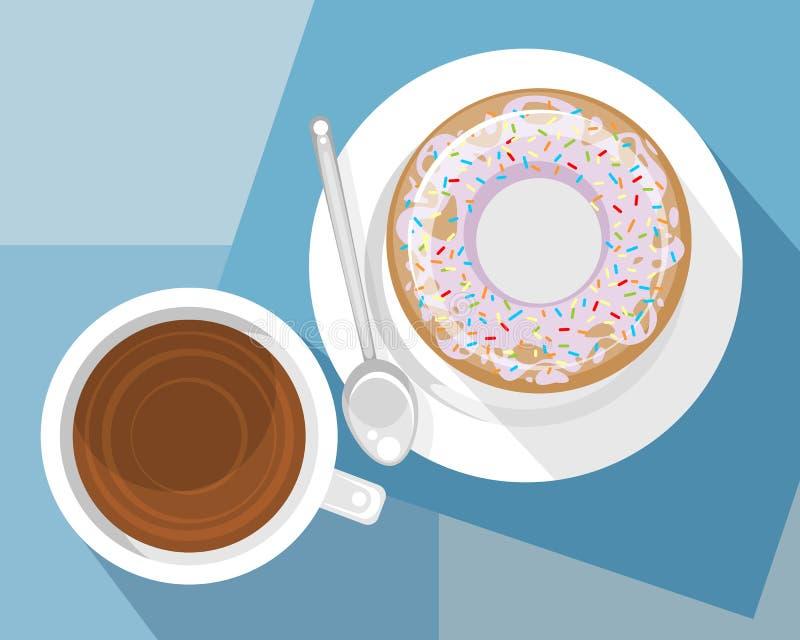 Tasse Kaffee und Nachtisch lizenzfreie abbildung