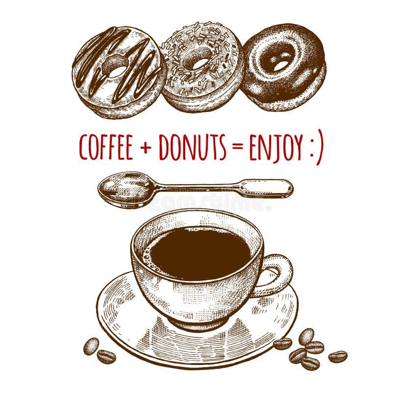 Tasse Kaffee und Schaumgummiringe lizenzfreie abbildung