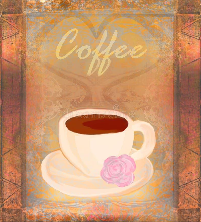 Tasse Kaffee, Weinlesekarte lizenzfreie abbildung