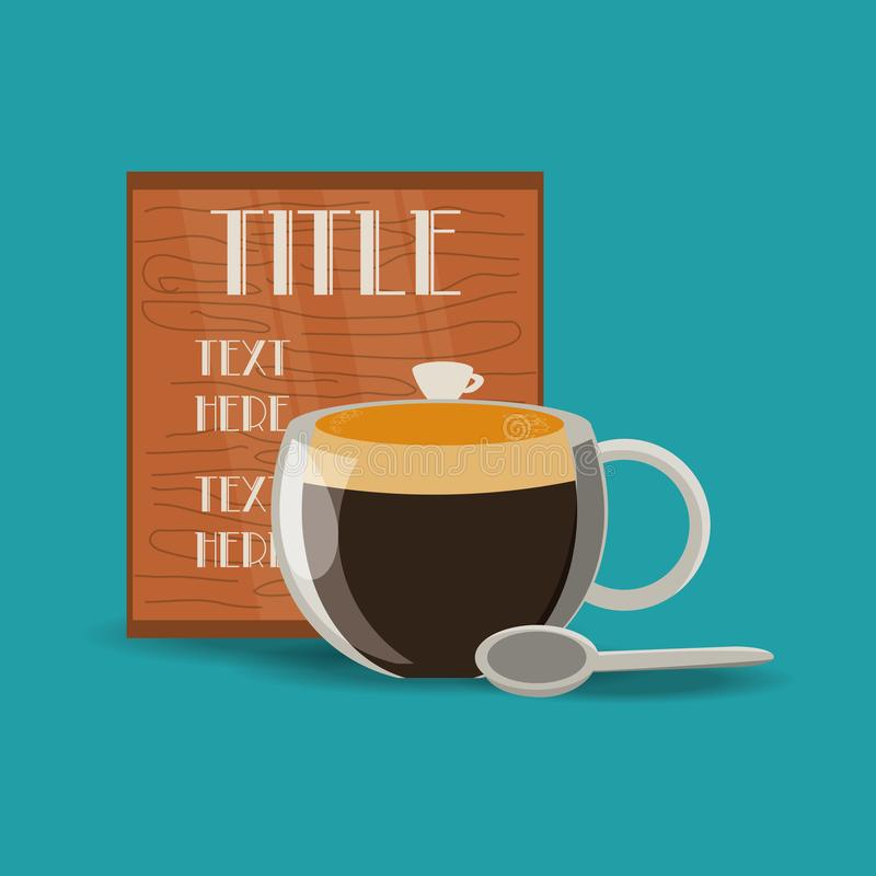 Tasse plate de boisson de café et de concept de menu illustration stock