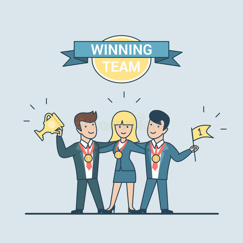 Tasse plate linéaire f de gagnant de la médaille de personnes d'équipe gagnante illustration stock