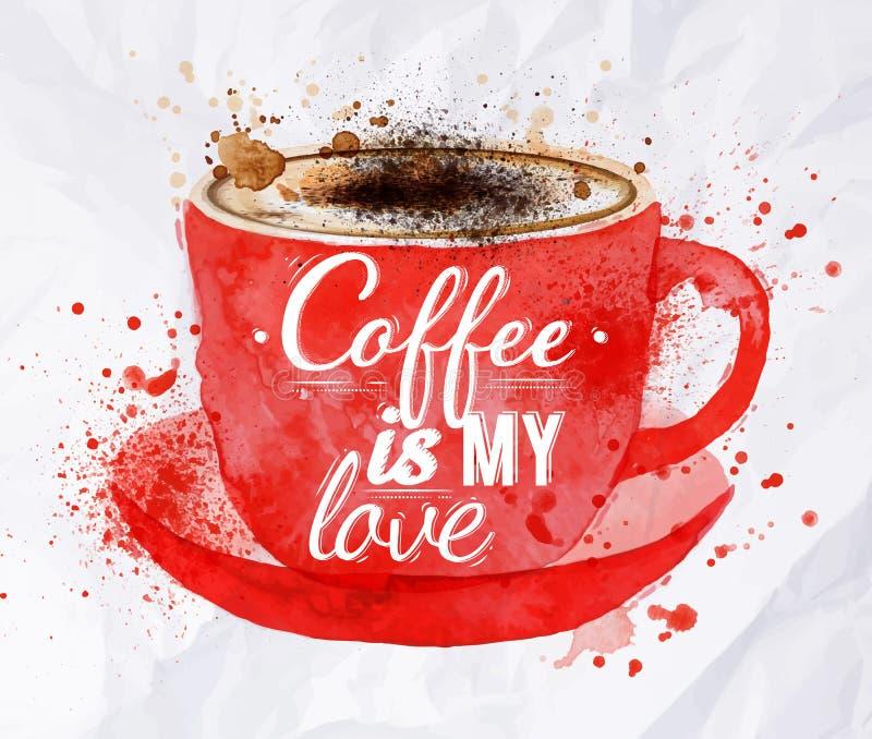 Tasse rouge d'aquarelle de cappuccino illustration stock