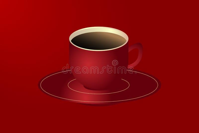 Tasse rouge de café noir chaud illustration de vecteur