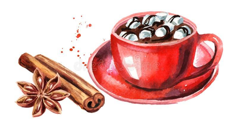 Tasse rouge de chocolat chaud avec la guimauve, le bâton de cannelle et l'anis d'étoile Illustration tirée par la main d'aquarell illustration libre de droits