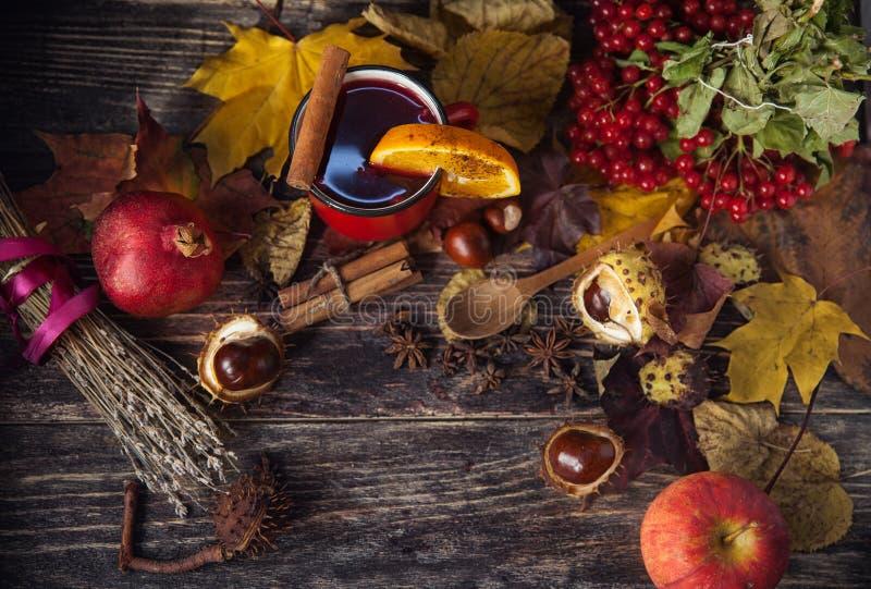 Tasse rouge de vin chaud chaud en automne parmi des feuilles photo libre de droits