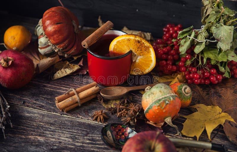 Tasse rouge de vin chaud chaud en automne parmi des feuilles photo stock