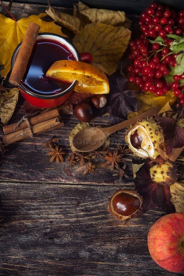 Tasse rouge de vin chaud chaud en automne parmi des feuilles photos stock
