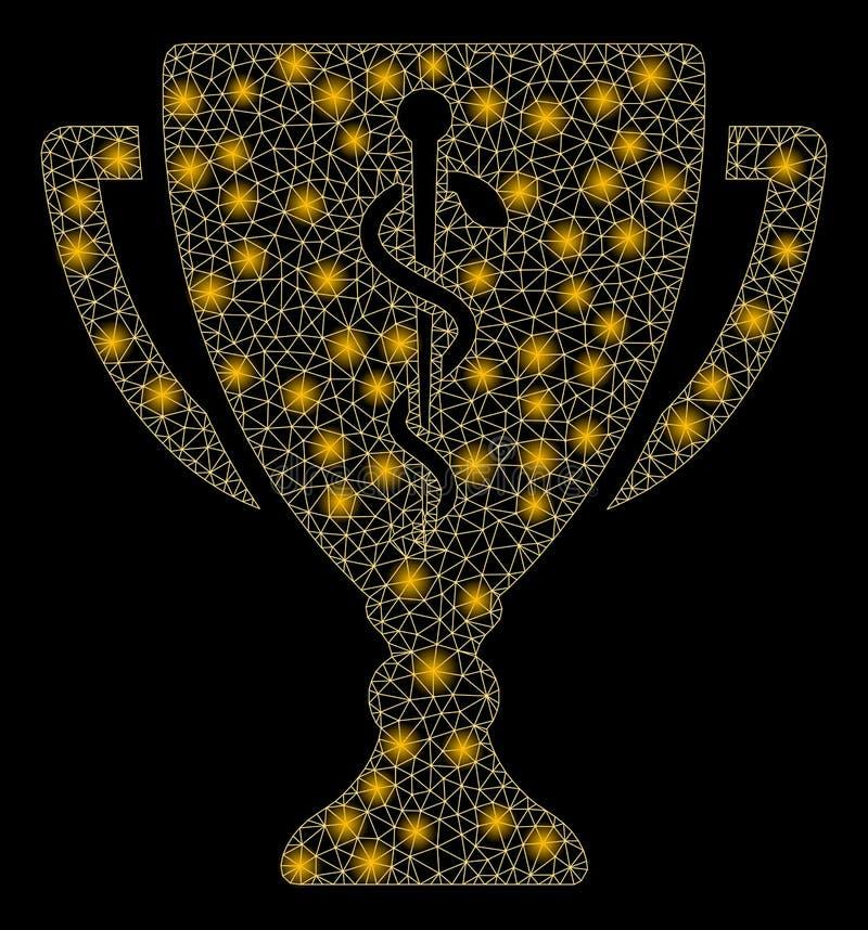Tasse rougeoyante de Mesh Wire Frame Medical Prize avec les taches lumineuses illustration libre de droits
