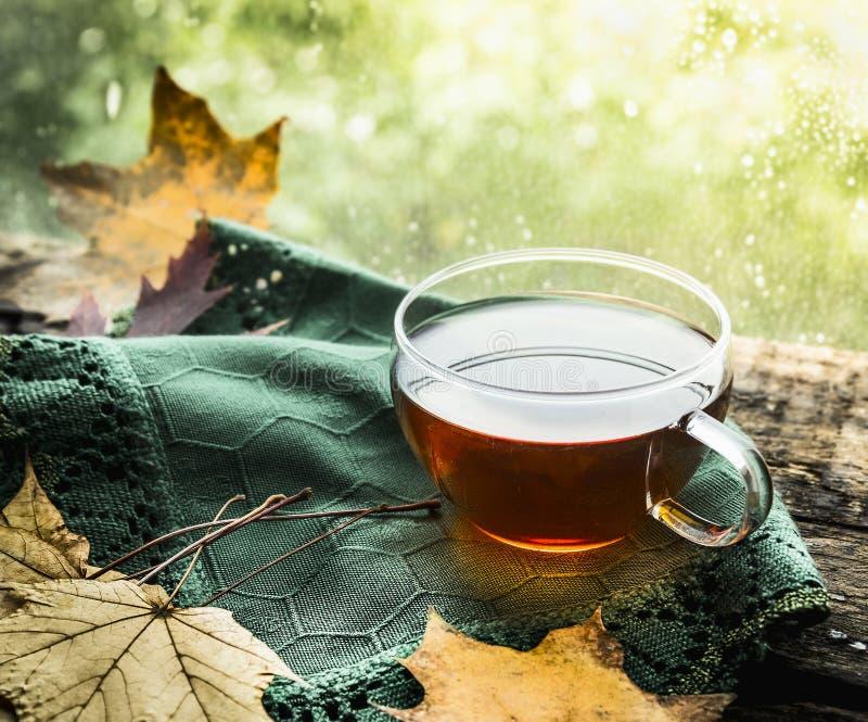 Tasse Tee auf einem hölzernen Regenfensterbrett mit einem grünen Stoff und Herbstlaub auf einem natürlichen Hintergrund lizenzfreie stockfotos