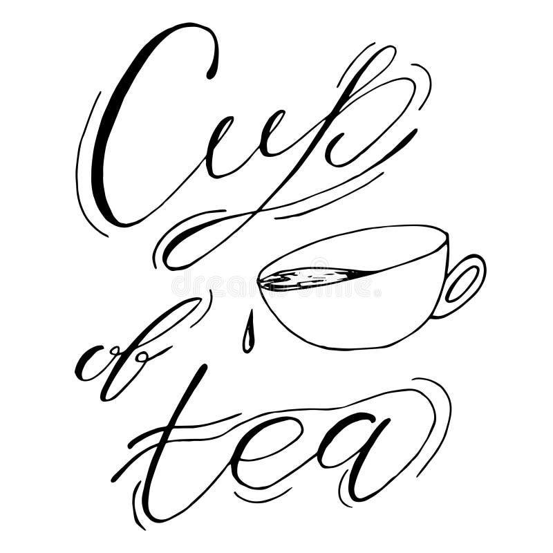 Tasse Tee, Kaffee Handgezogene Skizzenillustration auf weißem Hintergrund, Gestaltungselemente Hintergrund mit Gemüse beschriftun stock abbildung