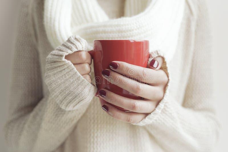 Tasse Tee oder Kaffee in den weiblichen Händen stockbilder