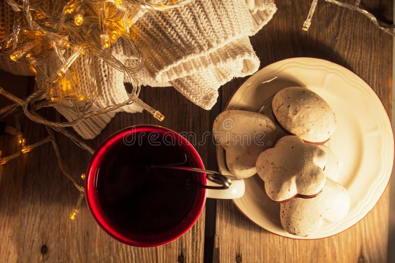 Tasse Tee, Pullover, Lebkuchen lizenzfreie stockbilder