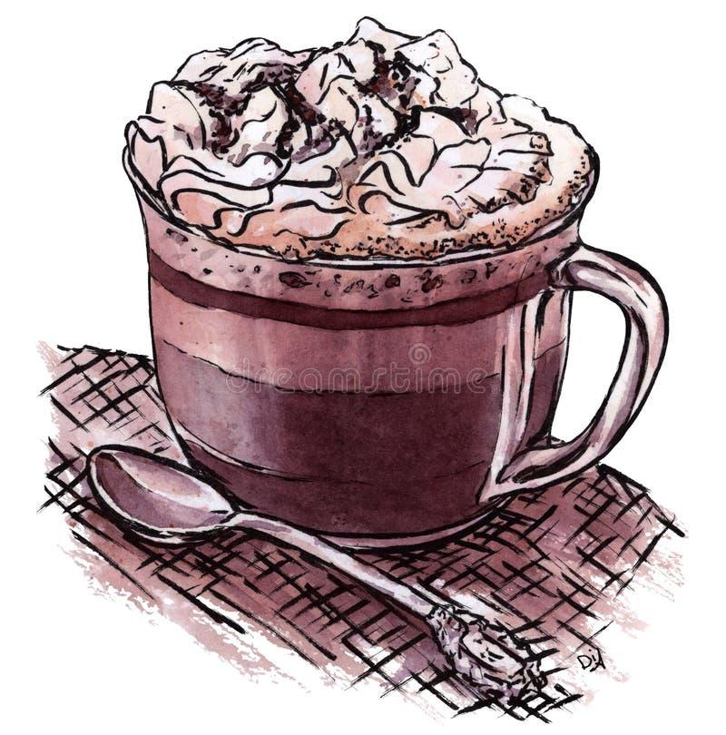 Tasse tirée par la main de café et de crème fouettée avec de la cannelle d'isolement sur le fond blanc illustration de vecteur