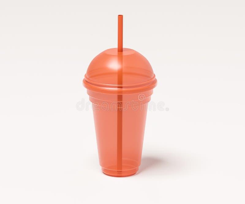 Tasse transparente en plastique pour des boissons de couleur orange avec un tubule illustration libre de droits