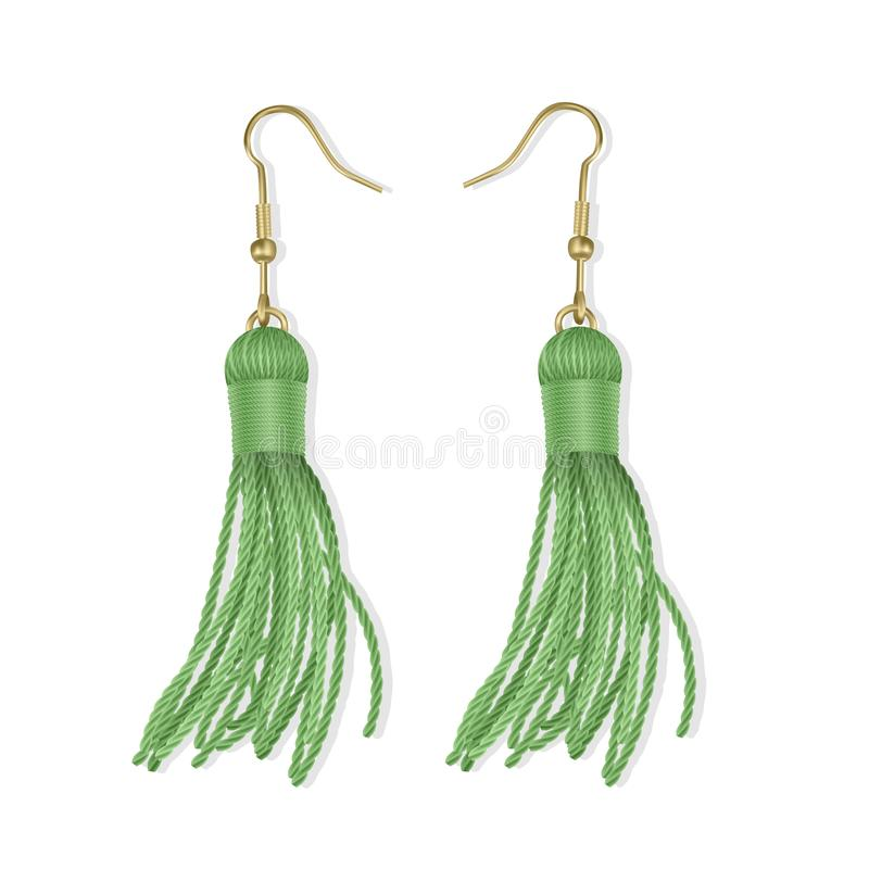 Tassel, Bright Earrings set of Green color, Summer fashion. Accessories Fringe earring. Realistic vector illustration vector illustration