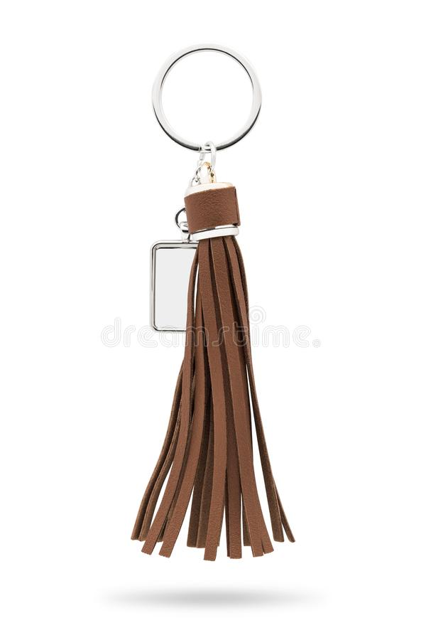 Tassel key ring isolated on white background. Fashion leather key chain for decoration. Clipping paths object. Tassel key ring isolated on white background stock image