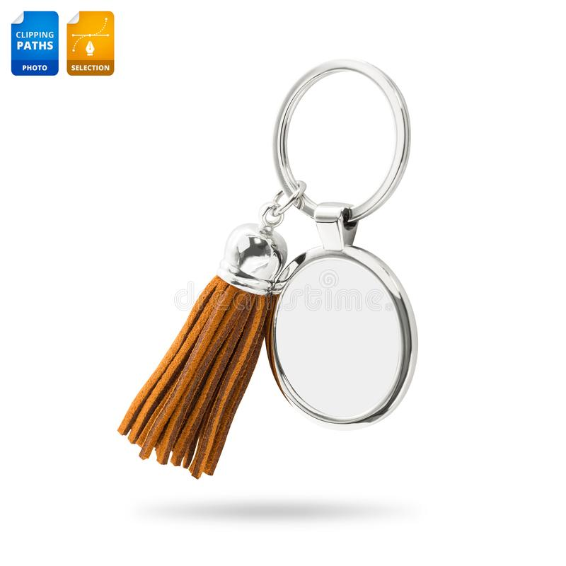 Tassel key ring isolated on white background. Fashion leather key chain for decoration. Clipping paths object. Keychain royalty free stock photo