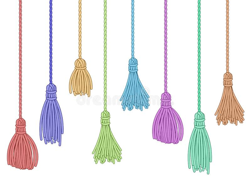 Tassel trim. Fabric curtain tassels, fringe bunch on rope and pillow colorful embelishments isolated vector set. Tassel trim. Fabric curtain tassels, fringe vector illustration
