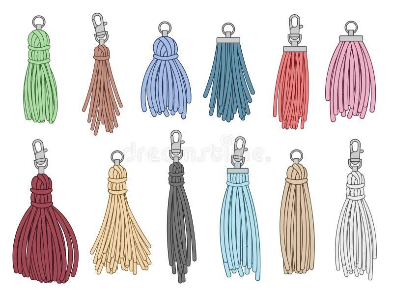 Tassels accessories. Leather fringe tassel trinket, handbag embelishments and fashion key chain isolated vector. Tassels accessories. Leather fringe tassel royalty free illustration