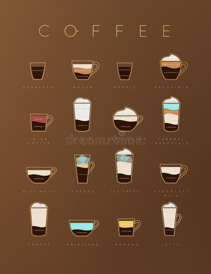 Tasses brunes plates de café d'affiche illustration libre de droits