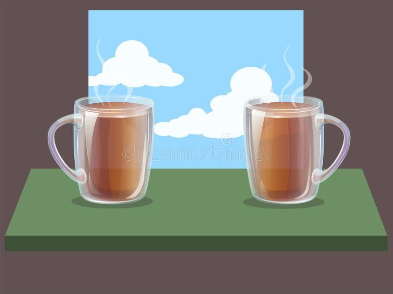 Tasses claires en verre deux de vecteur avec la boisson chaude sur la table et le ciel de retour illustration libre de droits