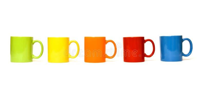 Tasses colorées photographie stock libre de droits