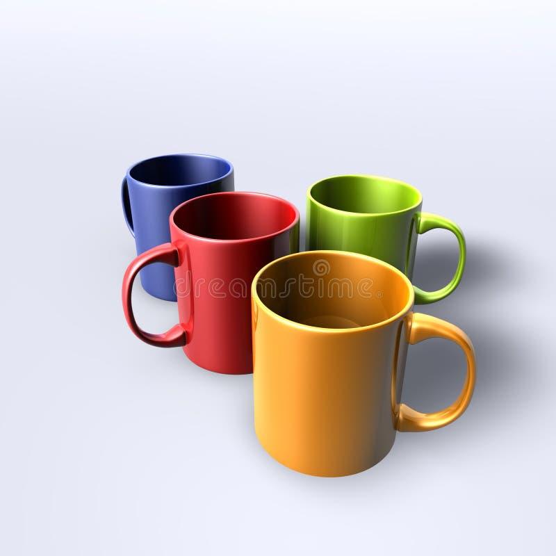 tasses colorées illustration stock