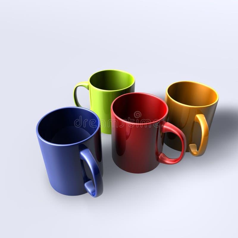 tasses colorées illustration de vecteur