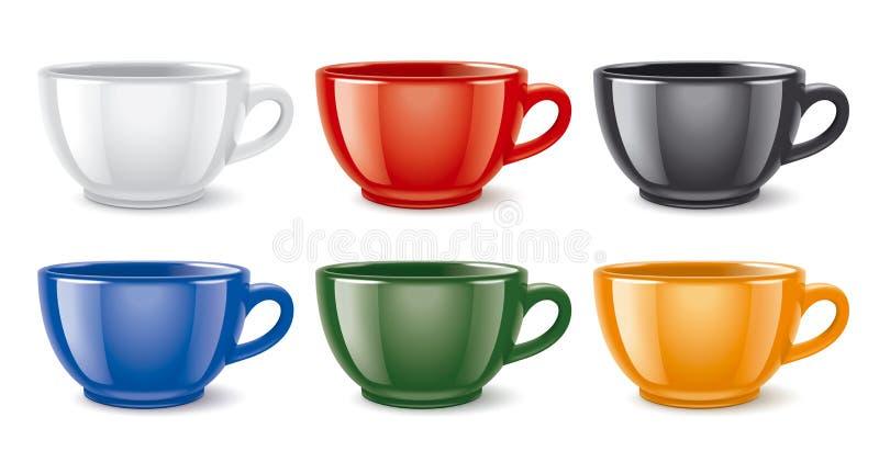 Tasses colorées brillantes illustration libre de droits