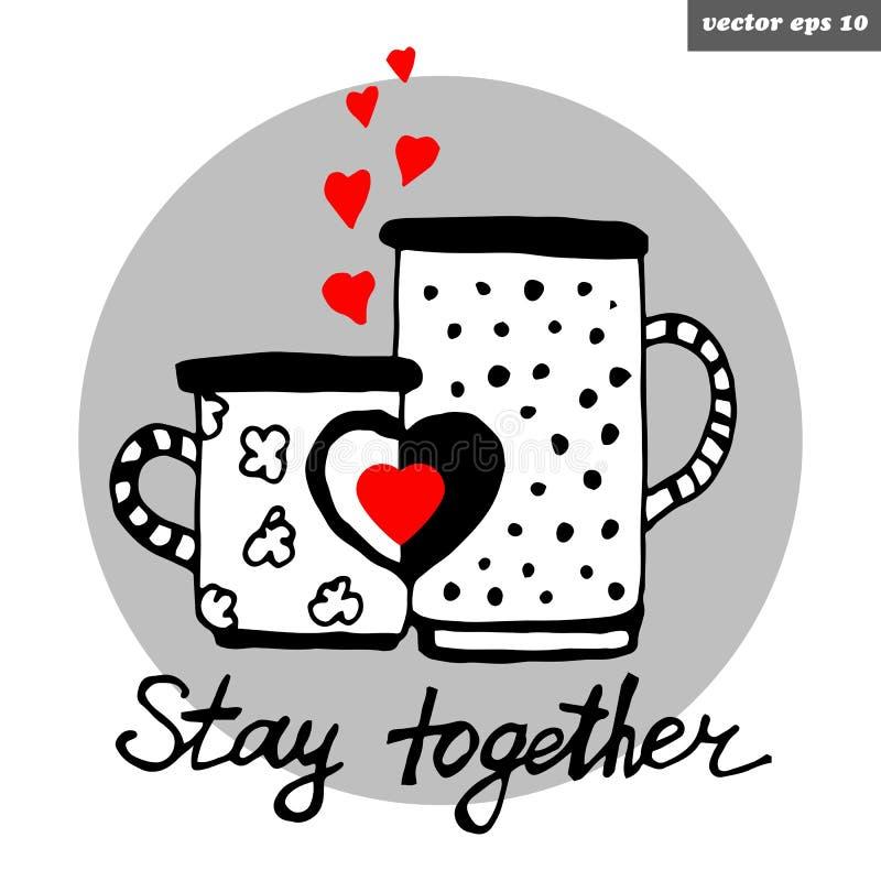 Tasses d'amour illustration libre de droits